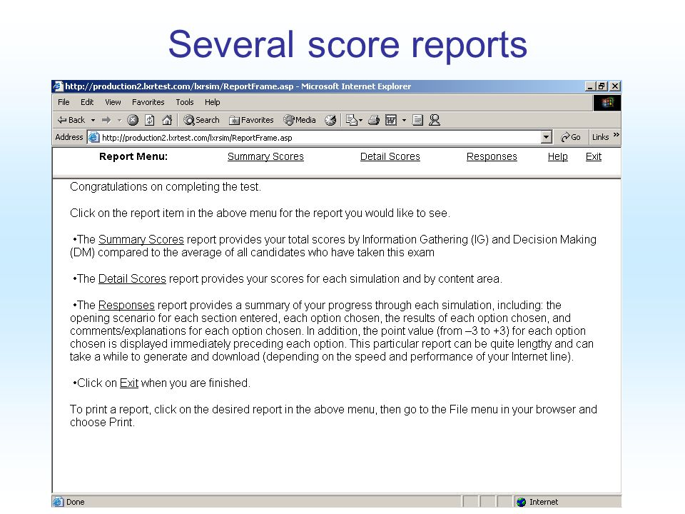 Copyright 2005 AMP Several score reports