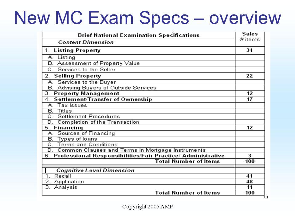 Copyright 2005 AMP New MC Exam Specs – overview