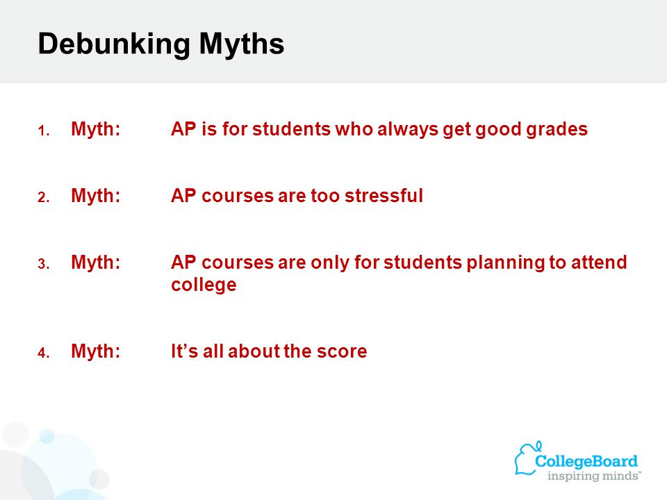 Debunking Myths 1. Myth:AP is for students who always get good grades 2.