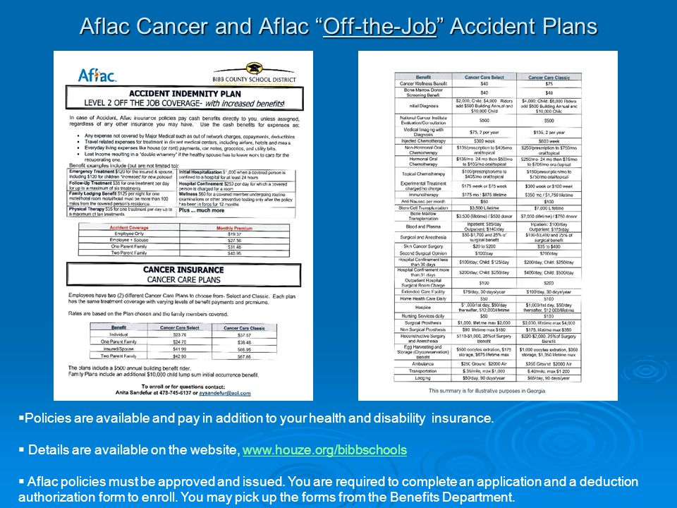 "Aflac Cancer and Aflac ""Off-the-Job"" Accident Plans  Policies are available and pay in addition to your health and disability insurance.  Details ar"
