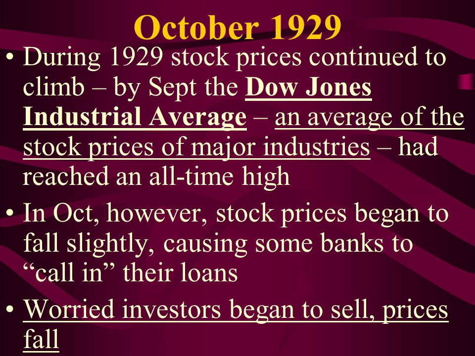 The Great Crash President Hoover assured the nation that the problem was not serious, but many investors got scared and sold huge amounts of stocks – driving down prices On Black Tuesday, Oct 29, the stock market collapsed as millions of stocks were sold This truly was the Great Crash!!