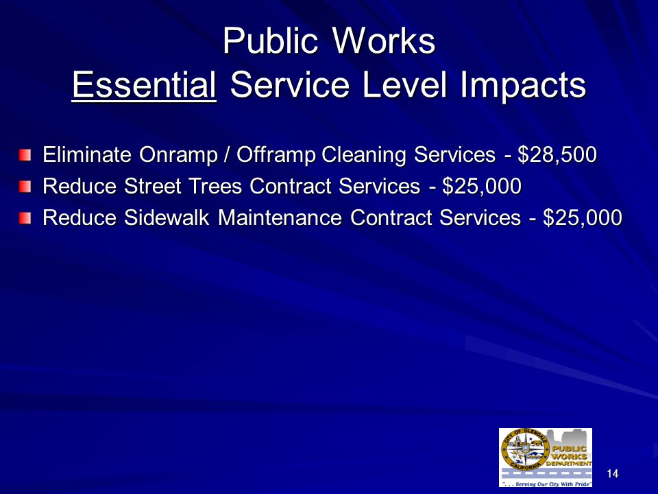14 Public Works Essential Service Level Impacts Eliminate Onramp / Offramp Cleaning Services - $28,500 Reduce Street Trees Contract Services - $25,000 Reduce Sidewalk Maintenance Contract Services - $25,000