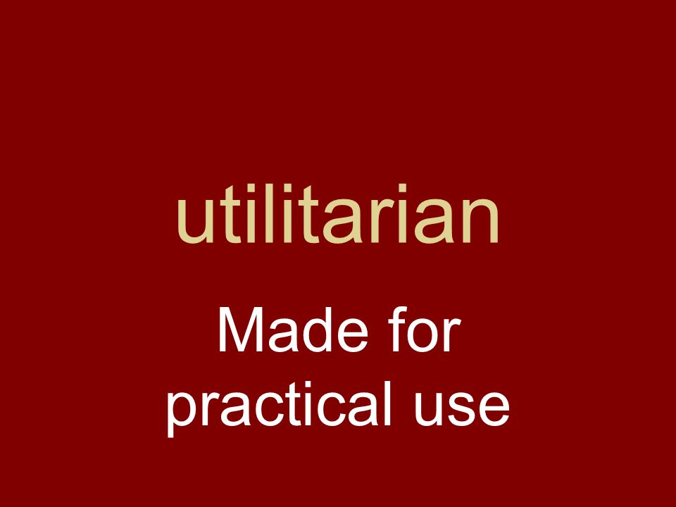 utilitarian Made for practical use