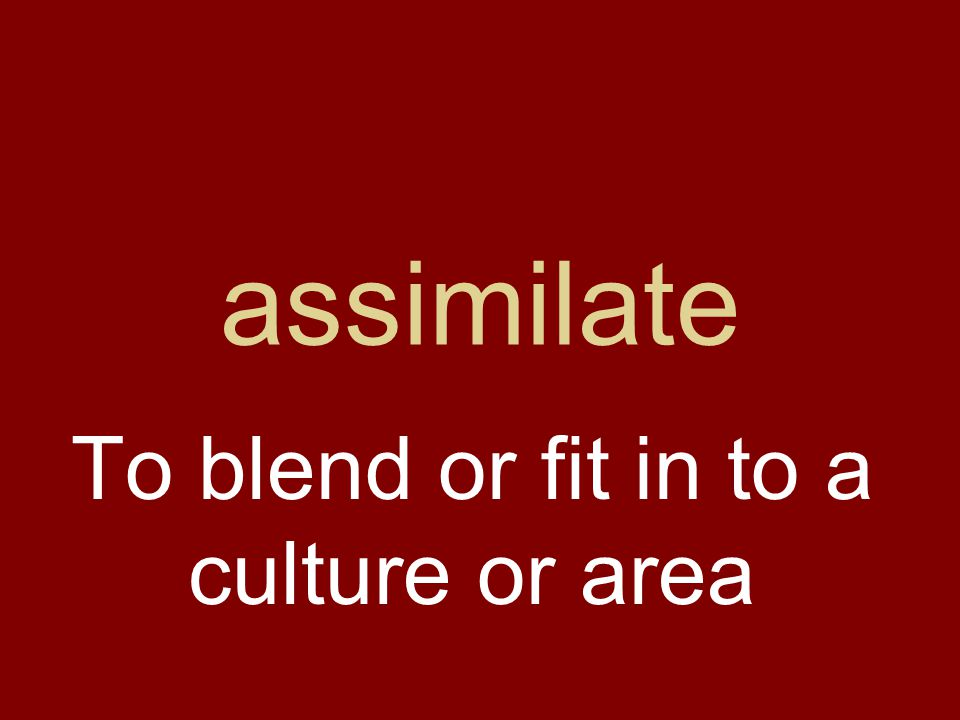 assimilate To blend or fit in to a culture or area