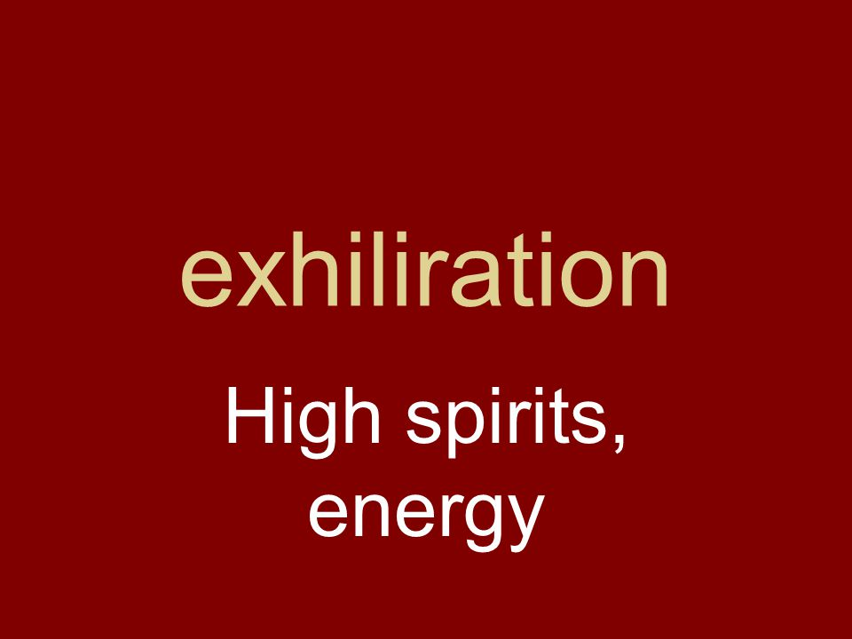 exhiliration High spirits, energy