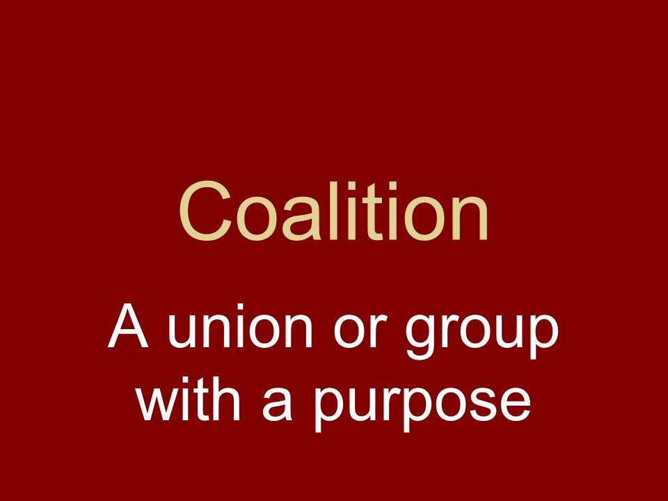Coalition A union or group with a purpose