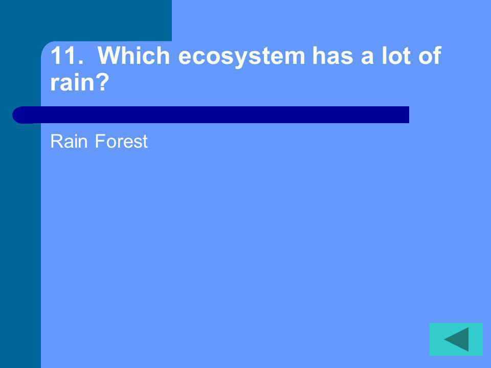 10. Which type of ecosystem is found in warm, tropical salt water Coral reef