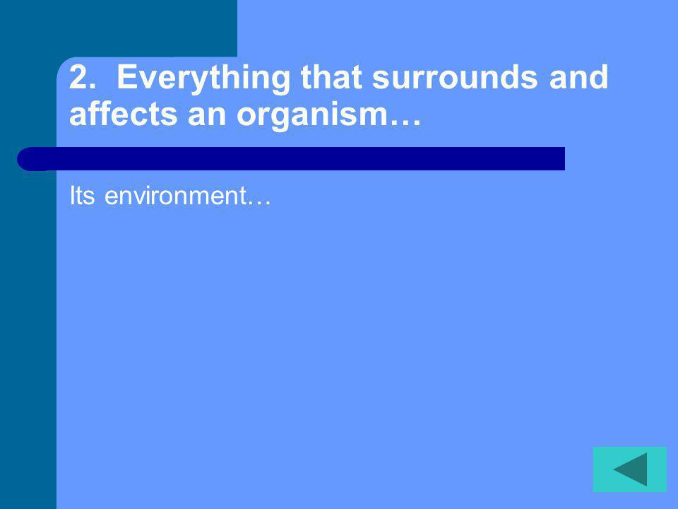 2. Everything that surrounds and affects an organism… Its environment…