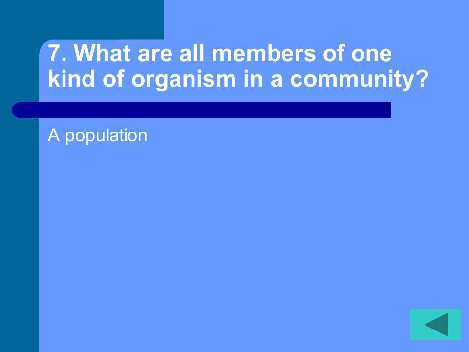 7. What are all members of one kind of organism in a community? A population