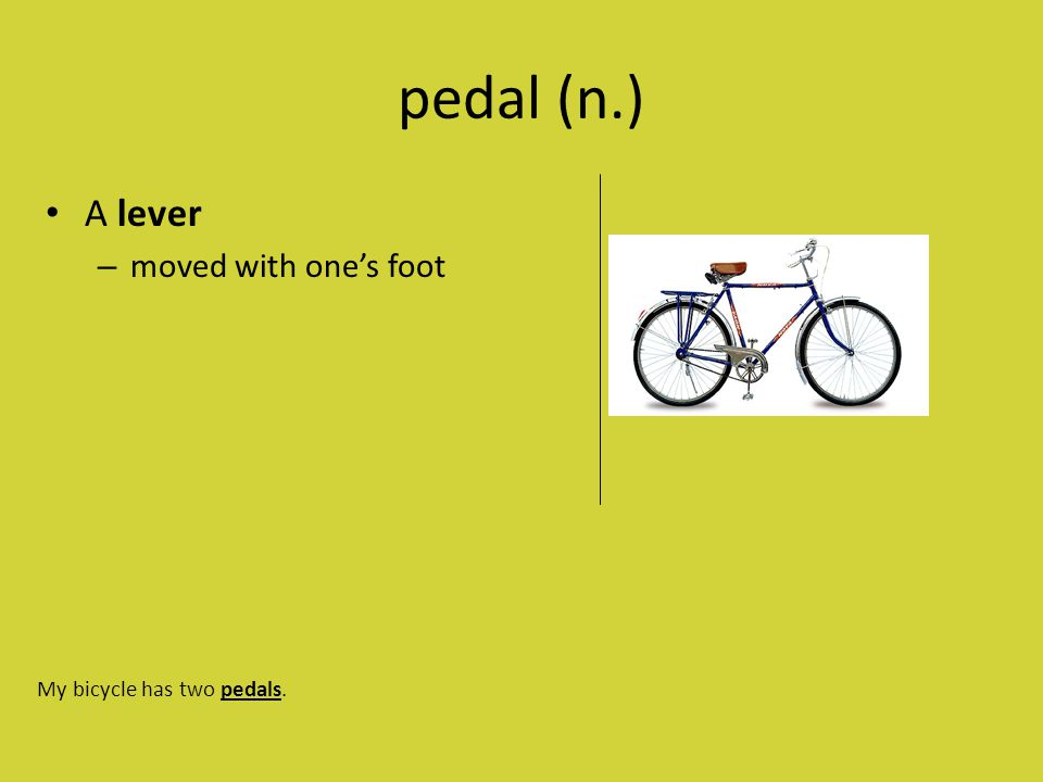 pedal (n.) A lever – moved with one's foot My bicycle has two pedals.