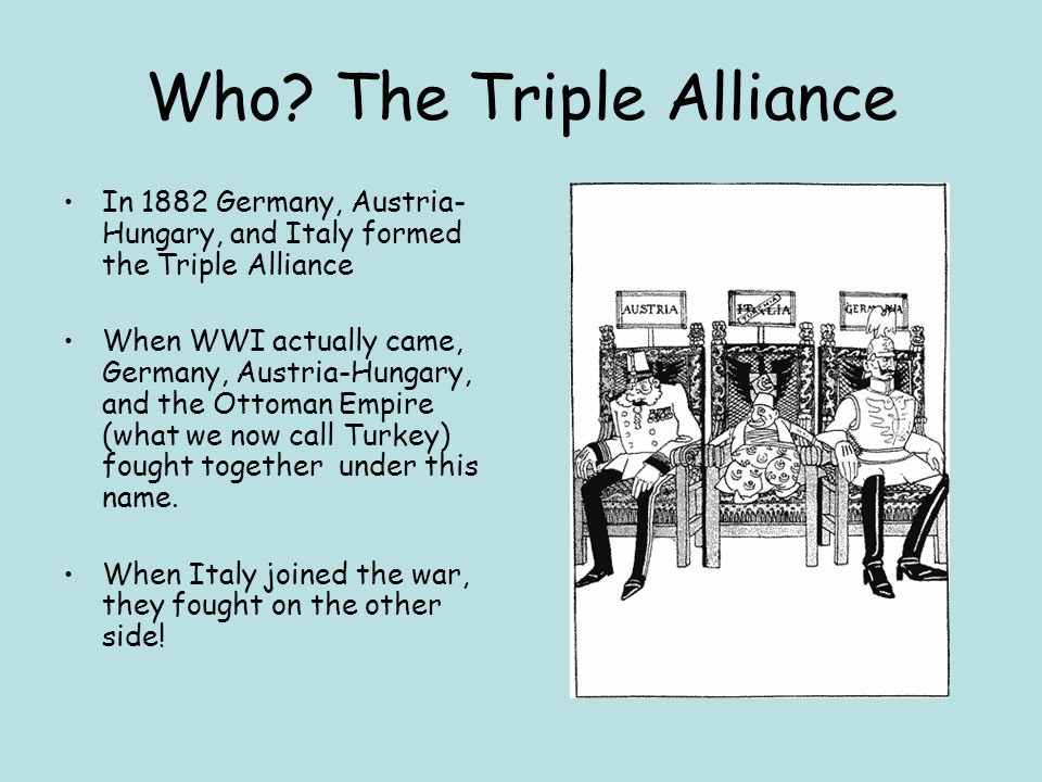 Who? The Triple Alliance In 1882 Germany, Austria- Hungary, and Italy formed the Triple Alliance When WWI actually came, Germany, Austria-Hungary, and