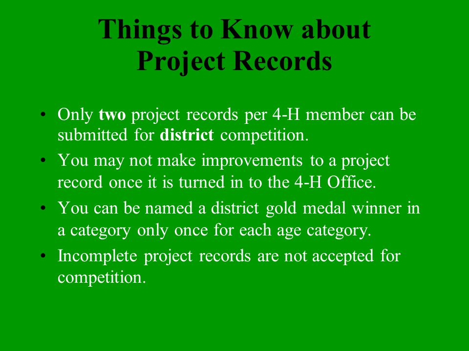 Putting the Bow On Once you have completed your project, you may want to rewrite it so that everything is neat. Place your project record in a pocket