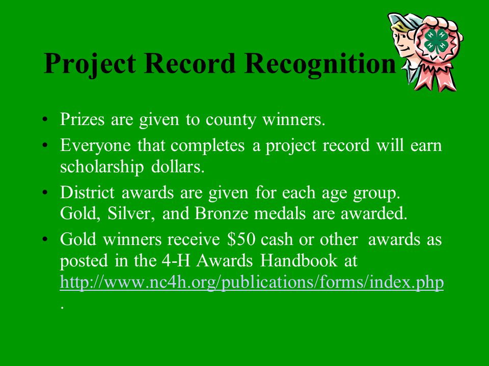 Adult Supervision The project record work should be the work of the 4-H member, not an adult. Each 4-H'er should set their own goals, however some goa