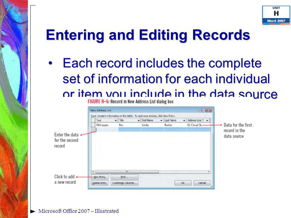 Microsoft Office 2007 – Illustrated Entering and Editing Records Each record includes the complete set of information for each individual or item you