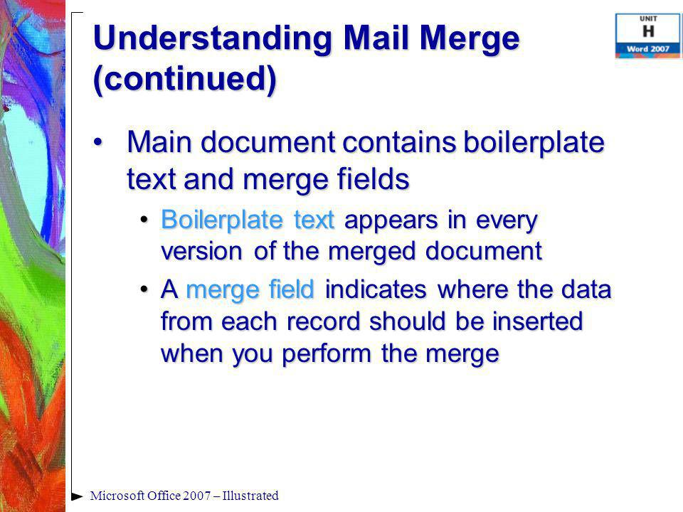 Microsoft Office 2007 – Illustrated Main document contains boilerplate text and merge fieldsMain document contains boilerplate text and merge fields B