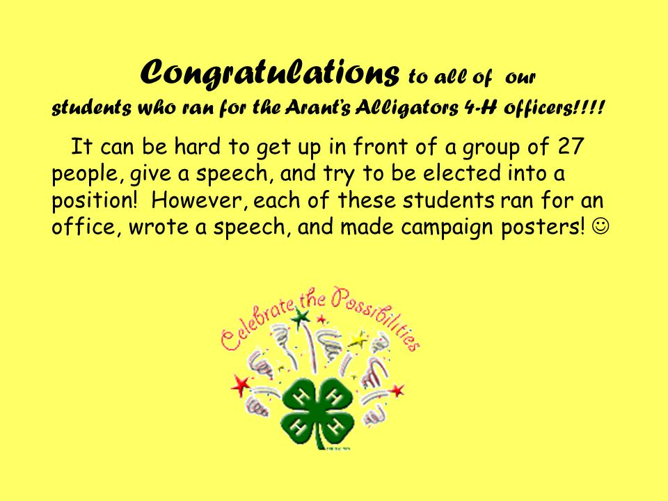 Congratulations to all of our students who ran for the Arant's Alligators 4-H officers!!!.