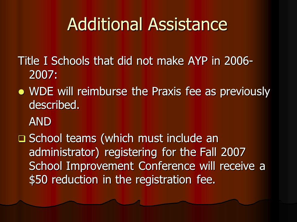 Additional Assistance Title I Schools that did not make AYP in 2006- 2007: WDE will reimburse the Praxis fee as previously described.