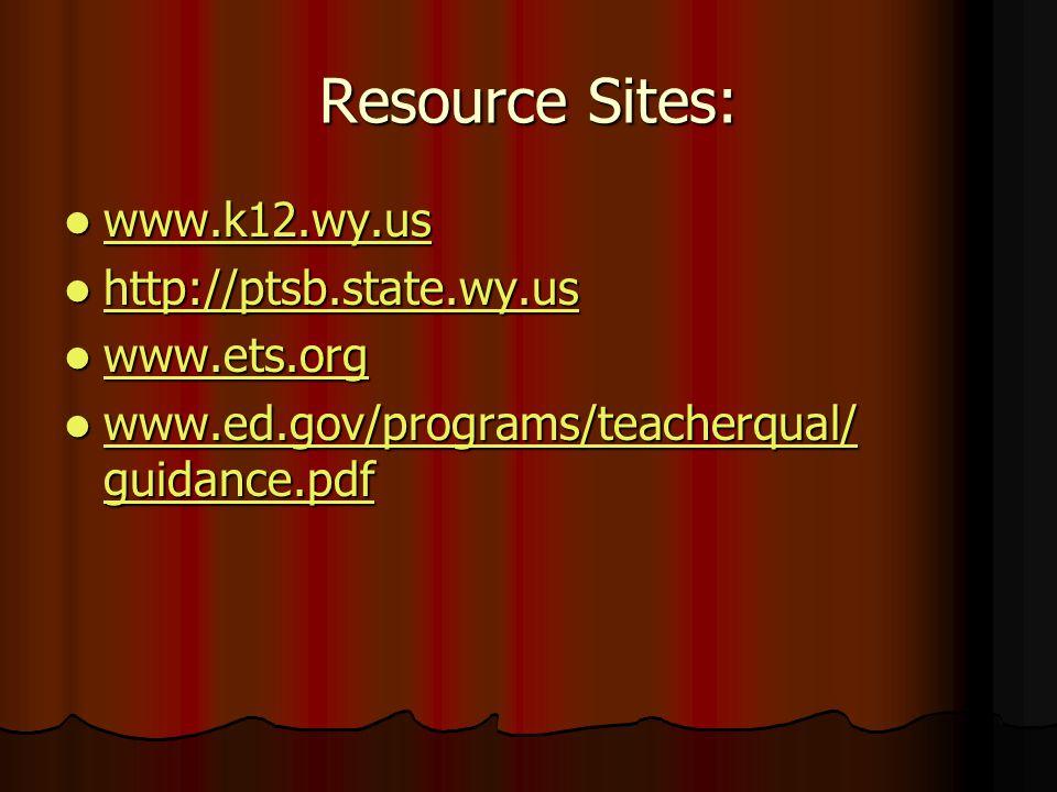 Resource Sites: www.k12.wy.us www.k12.wy.us www.k12.wy.us http://ptsb.state.wy.us http://ptsb.state.wy.us http://ptsb.state.wy.us www.ets.org www.ets.org www.ets.org www.ed.gov/programs/teacherqual/ guidance.pdf www.ed.gov/programs/teacherqual/ guidance.pdf www.ed.gov/programs/teacherqual/ guidance.pdf www.ed.gov/programs/teacherqual/ guidance.pdf
