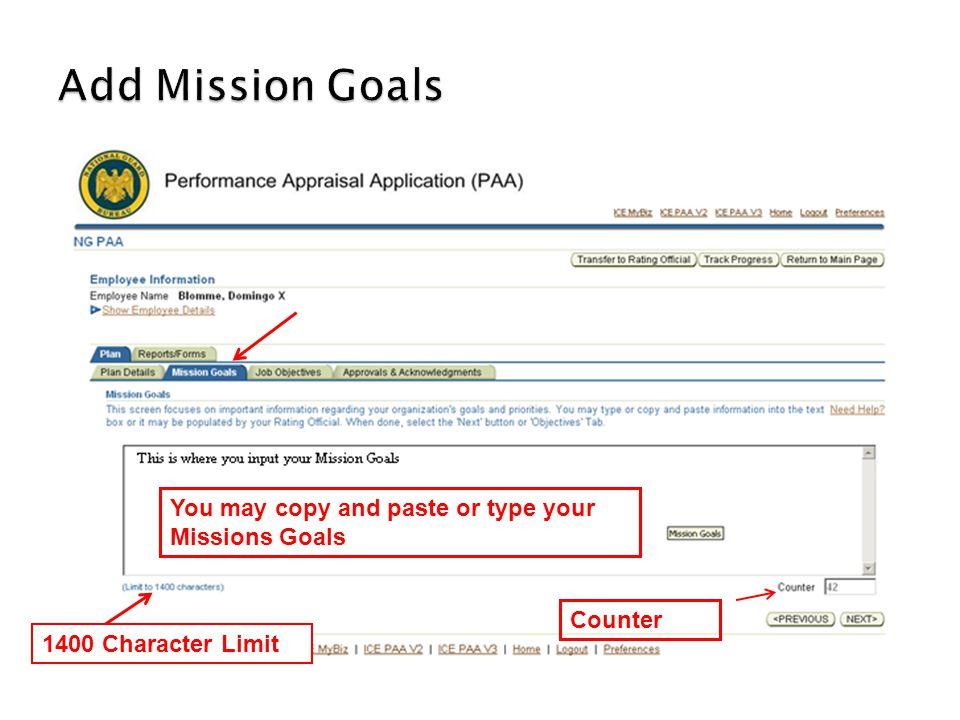 You may copy and paste or type your Missions Goals 1400 Character Limit Counter