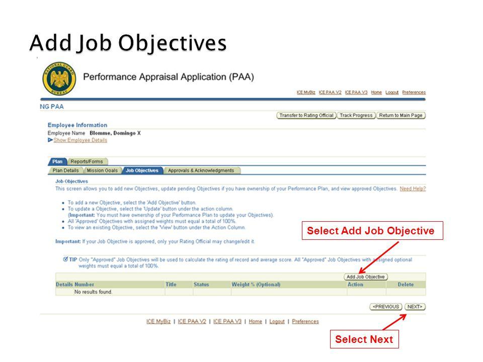 Select Add Job Objective Select Next