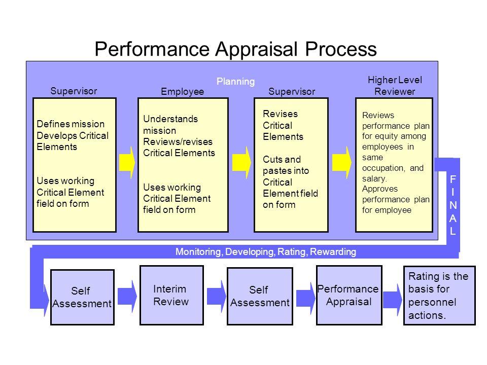 Self Assessment Interim Review Performance Appraisal Monitoring, Developing, Rating, Rewarding Performance Appraisal Process Supervisor Higher Level R