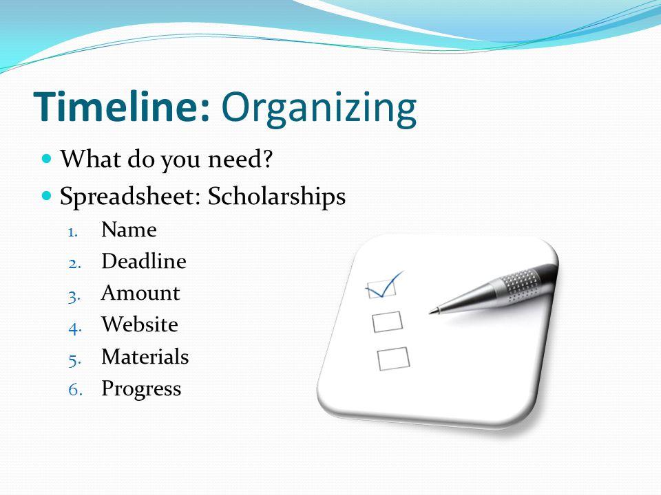 Timeline: Organizing What do you need. Spreadsheet: Scholarships 1.