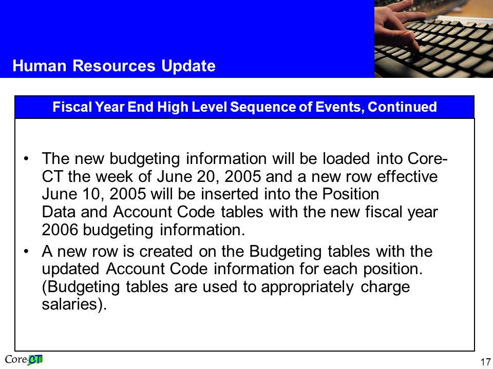 17 Human Resources Update Fiscal Year End High Level Sequence of Events, Continued The new budgeting information will be loaded into Core- CT the week of June 20, 2005 and a new row effective June 10, 2005 will be inserted into the Position Data and Account Code tables with the new fiscal year 2006 budgeting information.