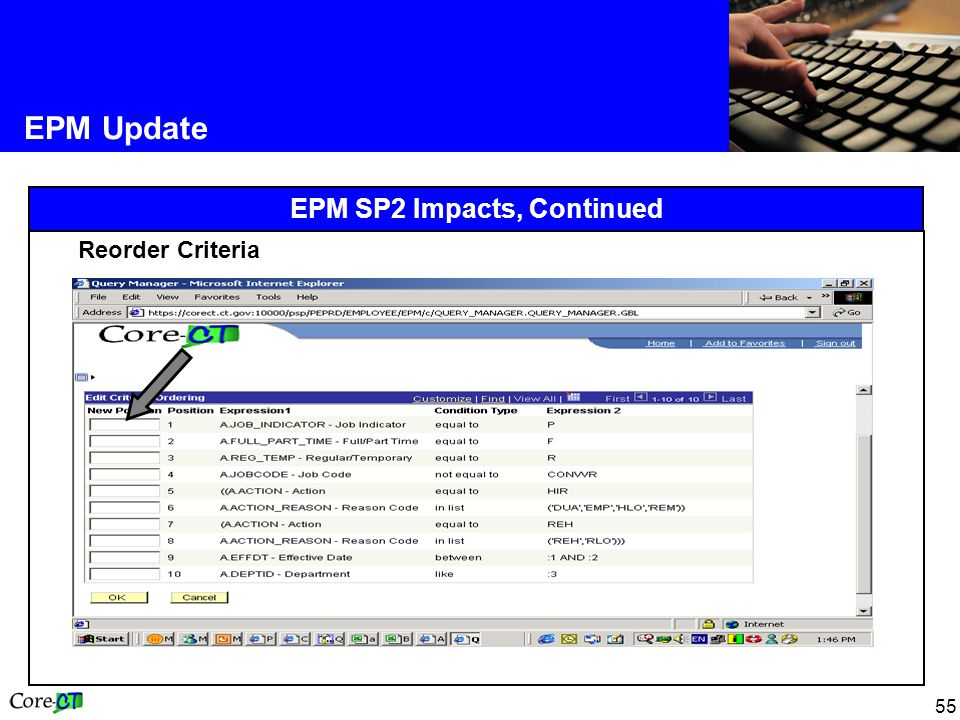 55 EPM Update EPM SP2 Impacts, Continued Reorder Criteria