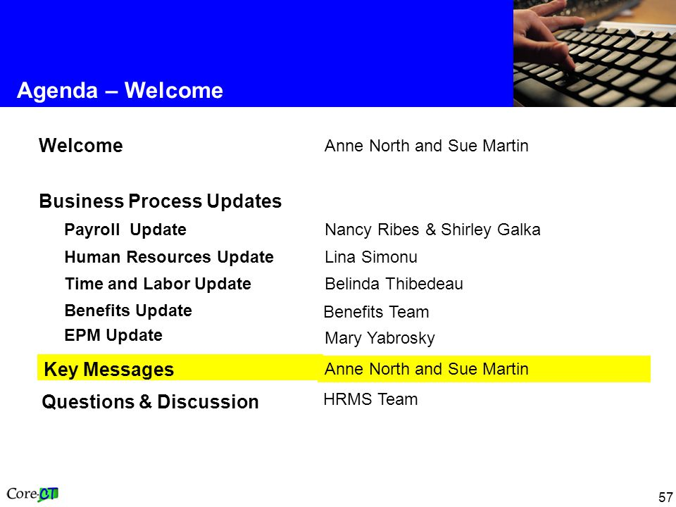57 Agenda – Welcome Anne North and Sue Martin Key Messages Benefits Team Benefits Update EPM Update HRMS Team Questions & Discussion Belinda Thibedeau Time and Labor Update Lina Simonu Human Resources Update Nancy Ribes & Shirley Galka Payroll Update Business Process Updates Anne North and Sue Martin Welcome Mary Yabrosky