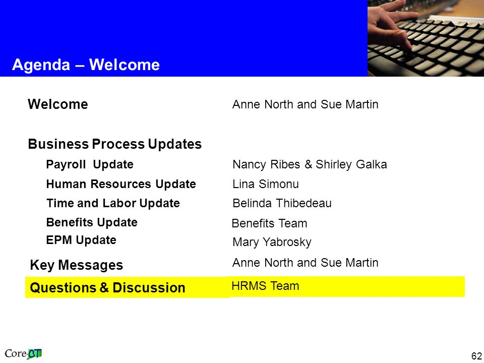 62 Agenda – Welcome Anne North and Sue Martin Key Messages Benefits Team Benefits Update EPM Update HRMS Team Questions & Discussion Belinda Thibedeau Time and Labor Update Lina Simonu Human Resources Update Nancy Ribes & Shirley Galka Payroll Update Business Process Updates Anne North and Sue Martin Welcome Mary Yabrosky