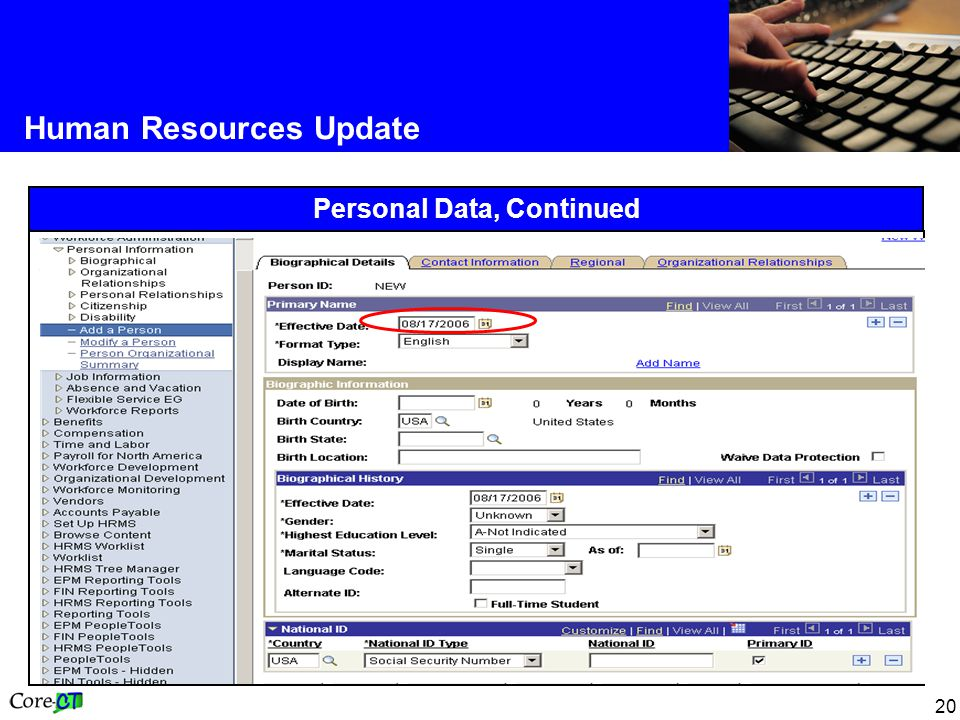 20 Human Resources Update Personal Data, Continued