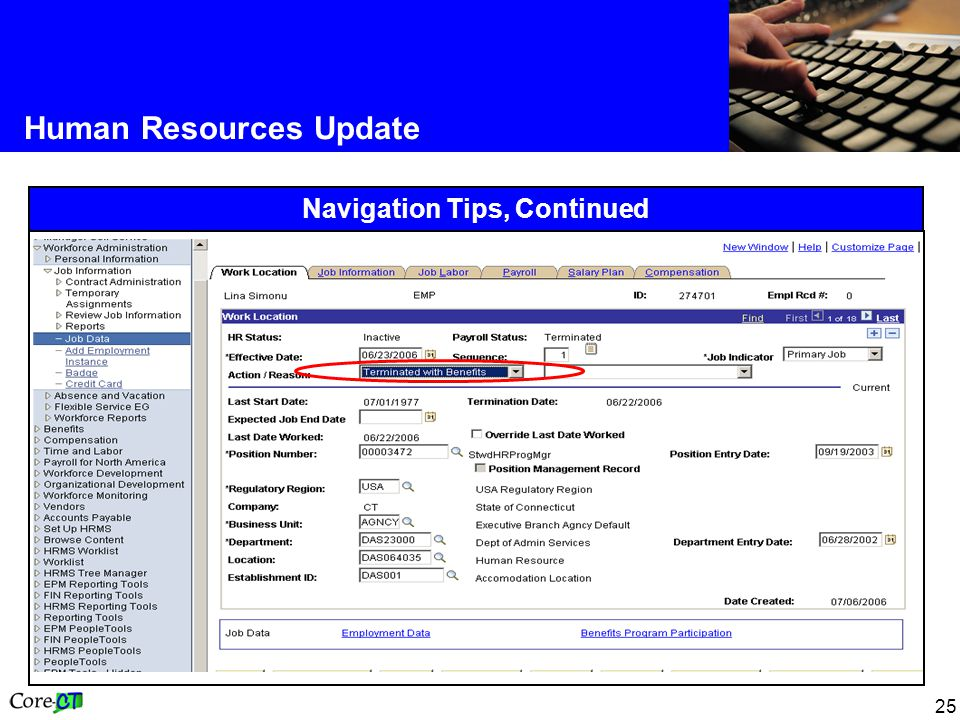 25 Human Resources Update Navigation Tips, Continued