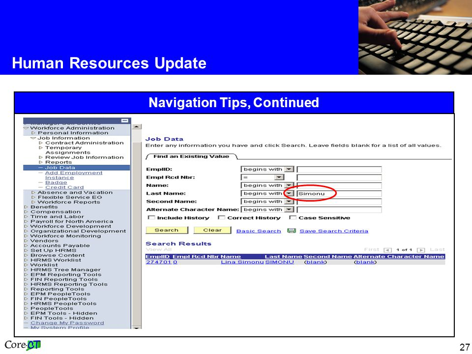 27 Human Resources Update Navigation Tips, Continued