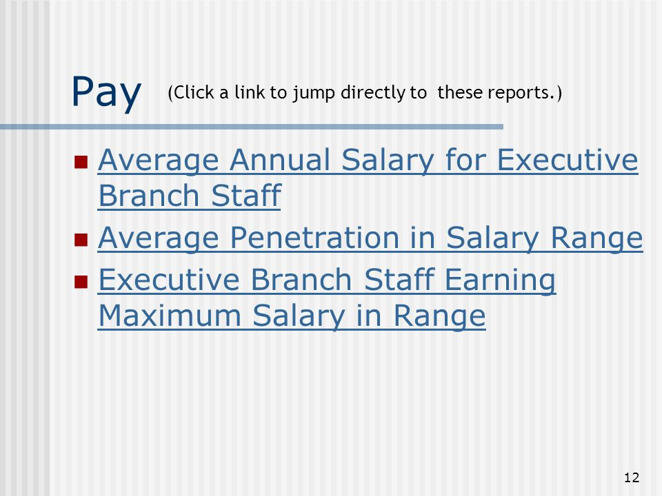 12 Pay Average Annual Salary for Executive Branch Staff Average Annual Salary for Executive Branch Staff Average Penetration in Salary Range Executive Branch Staff Earning Maximum Salary in Range Executive Branch Staff Earning Maximum Salary in Range (Click a link to jump directly to these reports.)