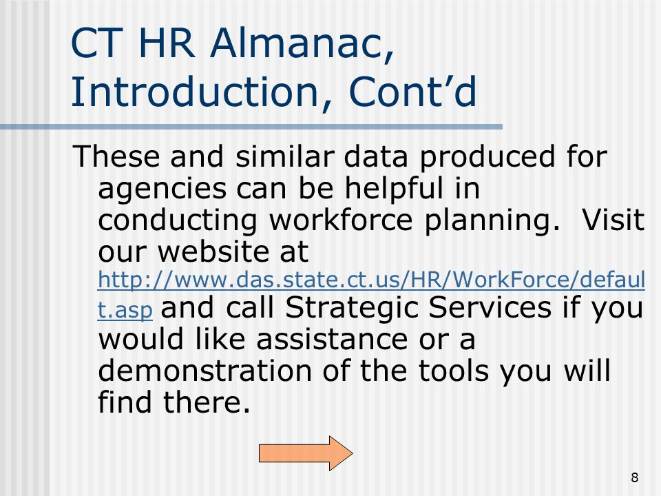 9 The Almanac Contains Reports on These State Employee Data Census Pay Job Codes Aging Workforce Turnover Durational Employees Durational Employees Personnel Actions Use of Leave Returning Retirees Rapid Exits from State Service Rapid Exits from State Service Employee Job Status Employee Job Status Click a link to jump directly to those reports.