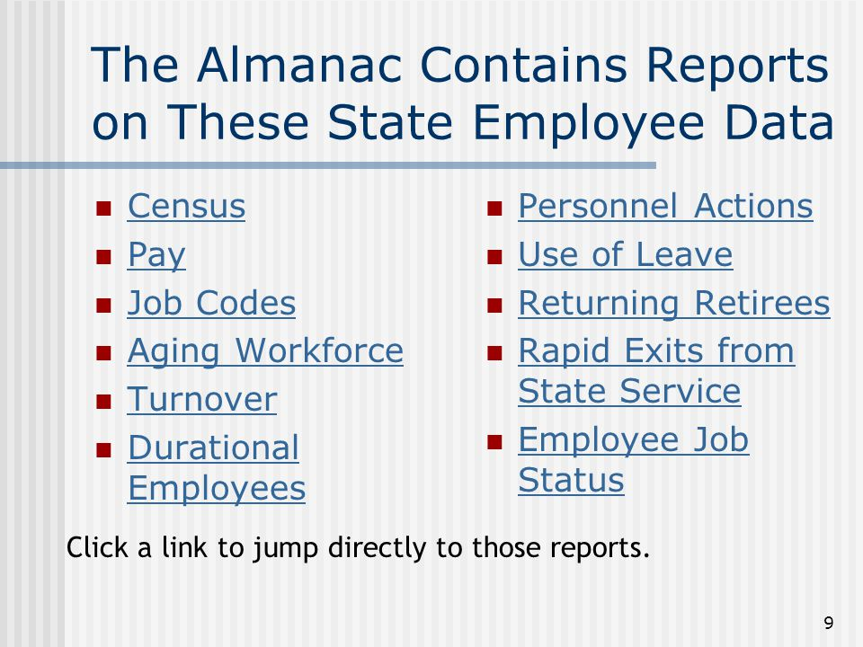 20 Rapid Exits From State Service Executive Branch Staff Leaving State Service Within 1 Year Executive Branch Staff Leaving State Service Within 1 Year (Click a link to jump directly to these reports.)