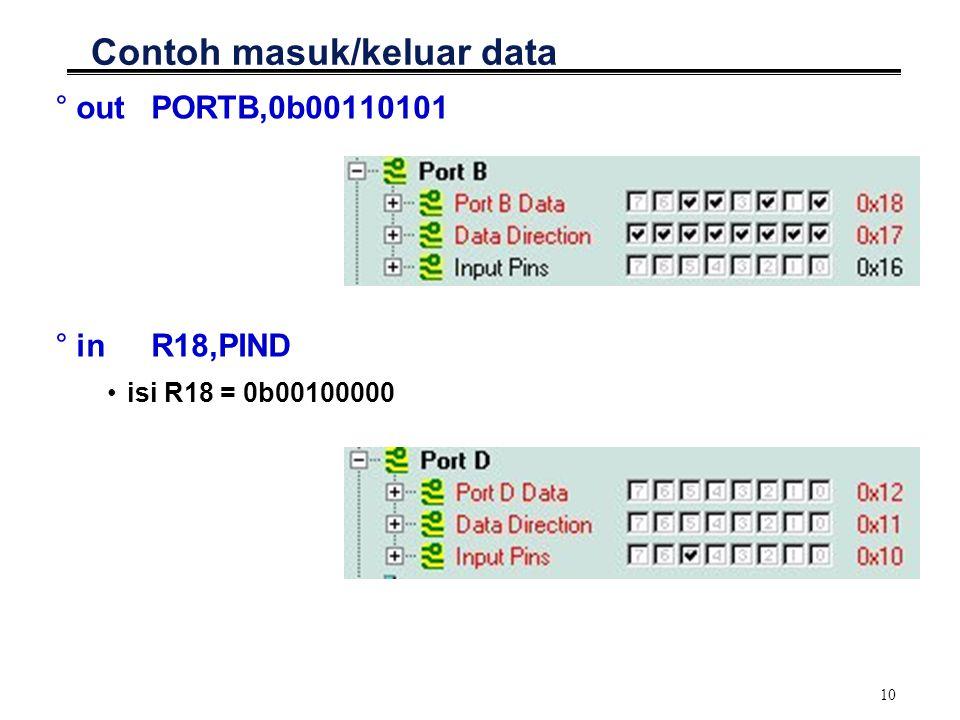 10 Contoh masuk/keluar data °outPORTB,0b00110101 °inR18,PIND isi R18 = 0b00100000