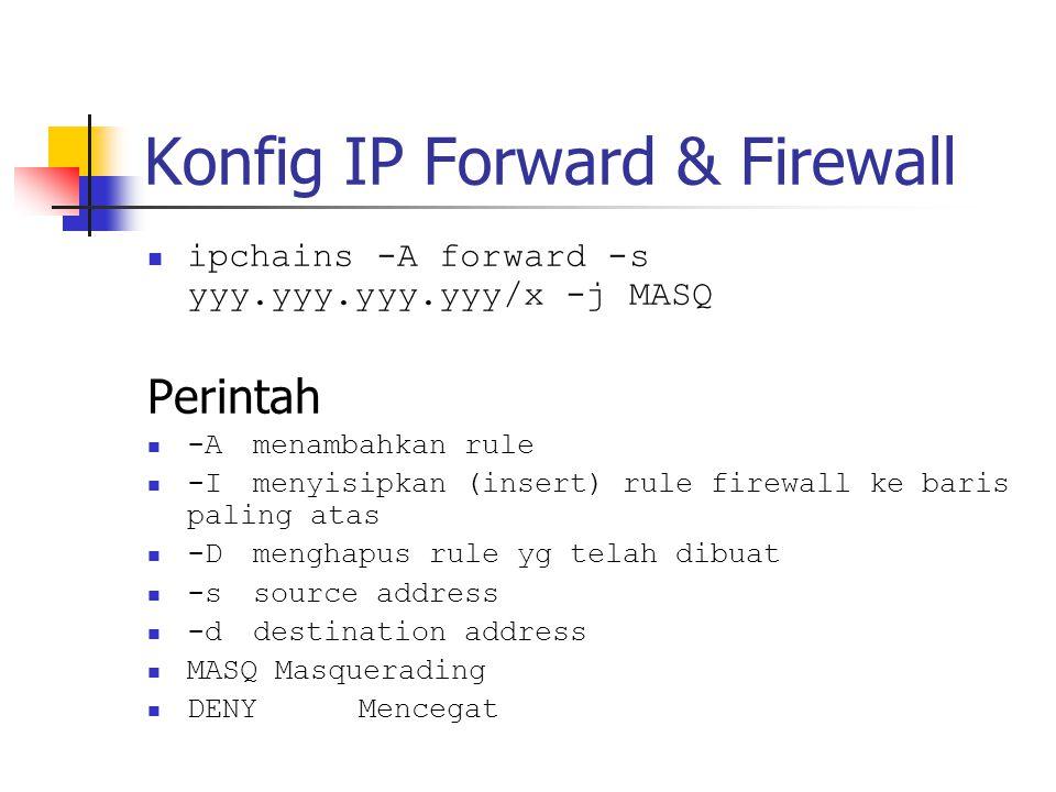 Konfig IP Forward & Firewall ipchains -A forward -s yyy.yyy.yyy.yyy/x -j MASQ Perintah -Amenambahkan rule -Imenyisipkan (insert) rule firewall ke baris paling atas -Dmenghapus rule yg telah dibuat -ssource address -ddestination address MASQ Masquerading DENYMencegat