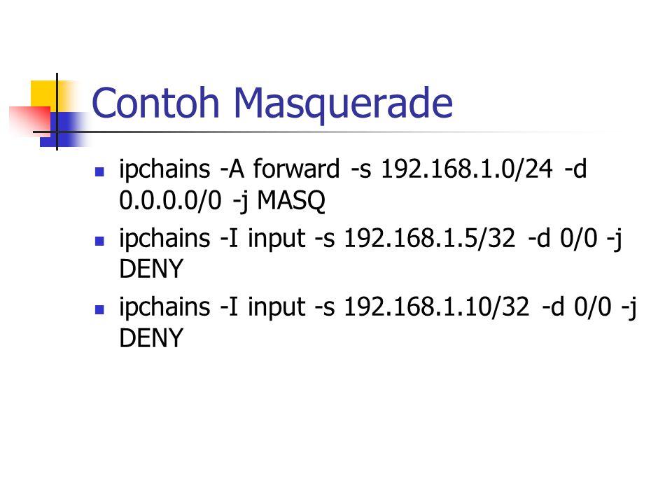 Contoh Masquerade ipchains -A forward -s 192.168.1.0/24 -d 0.0.0.0/0 -j MASQ ipchains -I input -s 192.168.1.5/32 -d 0/0 -j DENY ipchains -I input -s 192.168.1.10/32 -d 0/0 -j DENY