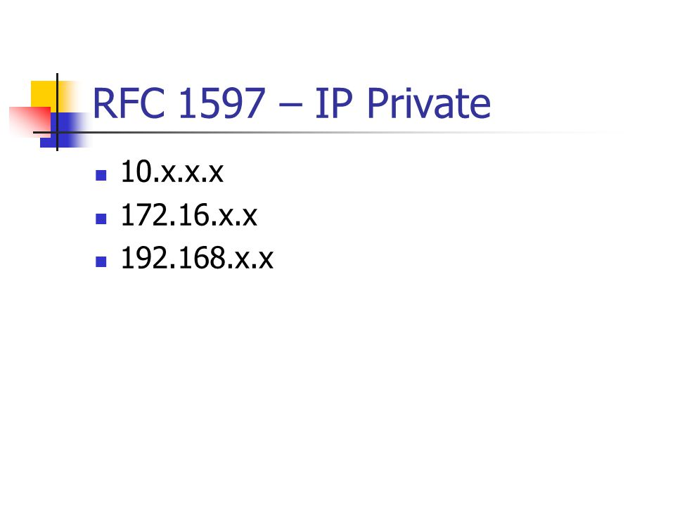 RFC 1597 – IP Private 10.x.x.x 172.16.x.x 192.168.x.x