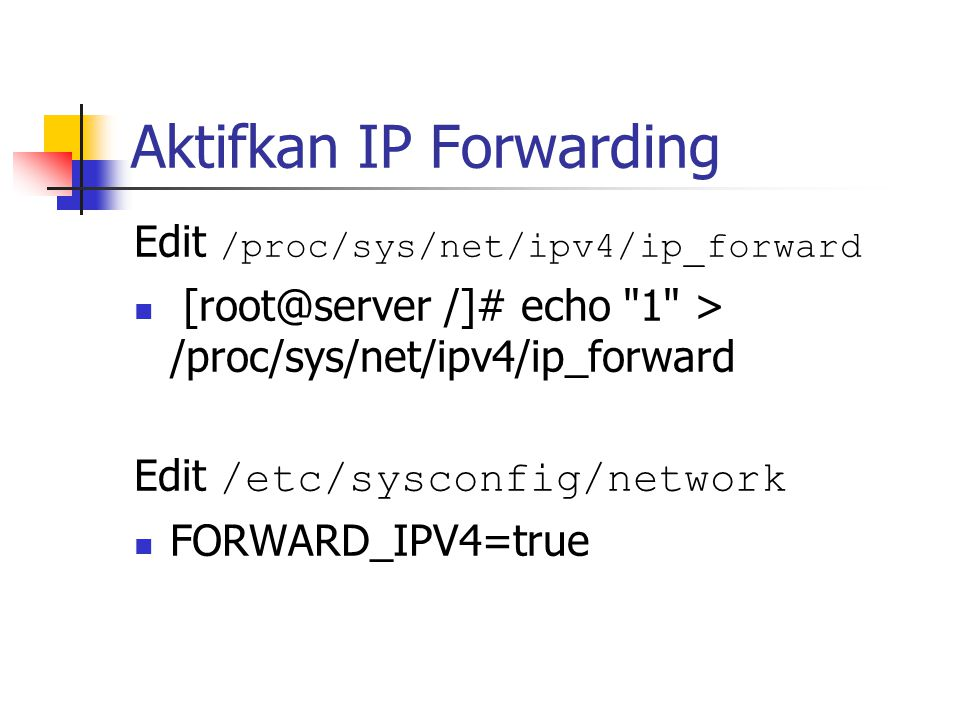 Edit /proc/sys/net/ipv4/ip_forward [root@server /]# echo 1 > /proc/sys/net/ipv4/ip_forward Edit /etc/sysconfig/network FORWARD_IPV4=true