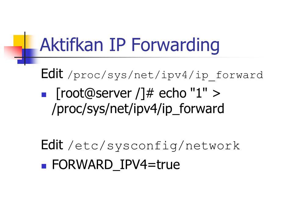 Check Modul [root@server /]# cd /lib/modules/2.2.5-15/ipv4/ [root@server ipv4]# ls ip_gre.o ip_masq_ftp.o ip_masq_portfw.o ip_masq_user.o rarp.o ip_masq_autofw.o ip_masq_irc.o ip_masq_quake.o ip_masq_vdolive.o ip_masq_cuseeme.o ip_masq_mfw.o ip_masq_raudio.o ipip.o