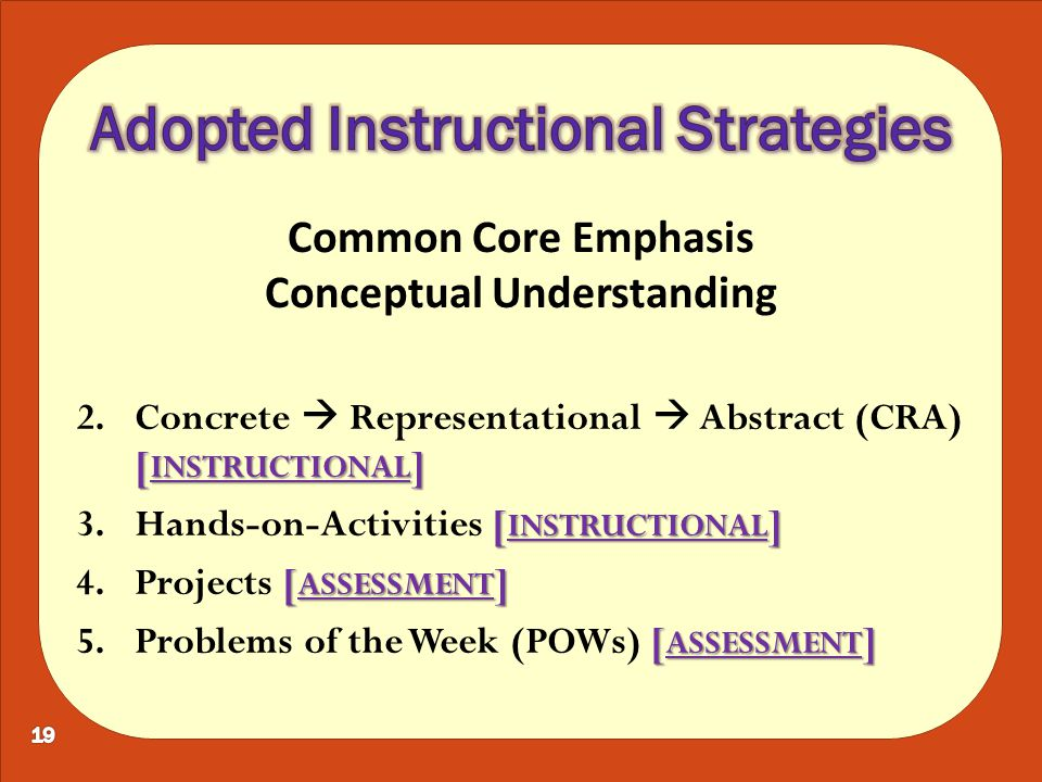 [ INSTRUCTIONAL ] 2.Concrete  Representational  Abstract (CRA) [ INSTRUCTIONAL ] [ INSTRUCTIONAL ] 3.Hands-on-Activities [ INSTRUCTIONAL ] [ ASSESSMENT ] 4.Projects [ ASSESSMENT ] [ ASSESSMENT ] 5.Problems of the Week (POWs) [ ASSESSMENT ] Common Core Emphasis Conceptual Understanding