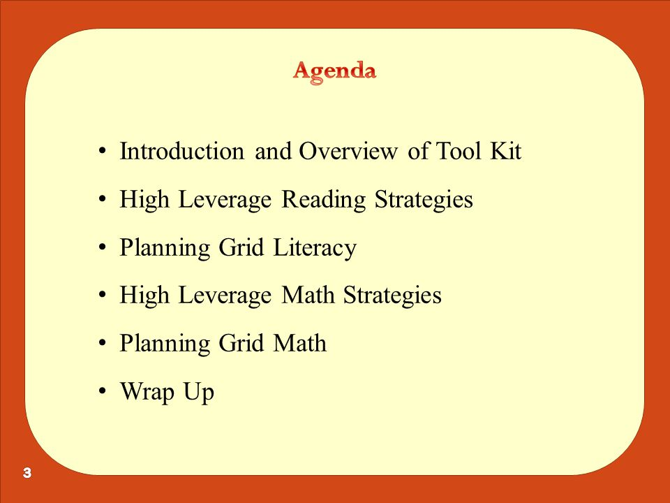 Introduction and Overview of Tool Kit High Leverage Reading Strategies Planning Grid Literacy High Leverage Math Strategies Planning Grid Math Wrap Up