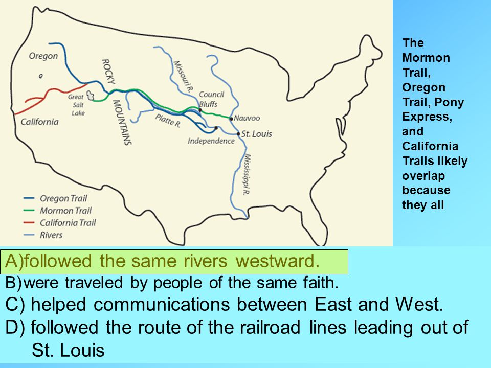 The Mormon Trail, Oregon Trail, Pony Express, and California Trails likely overlap because they all A)followed the same rivers westward. B)were travel