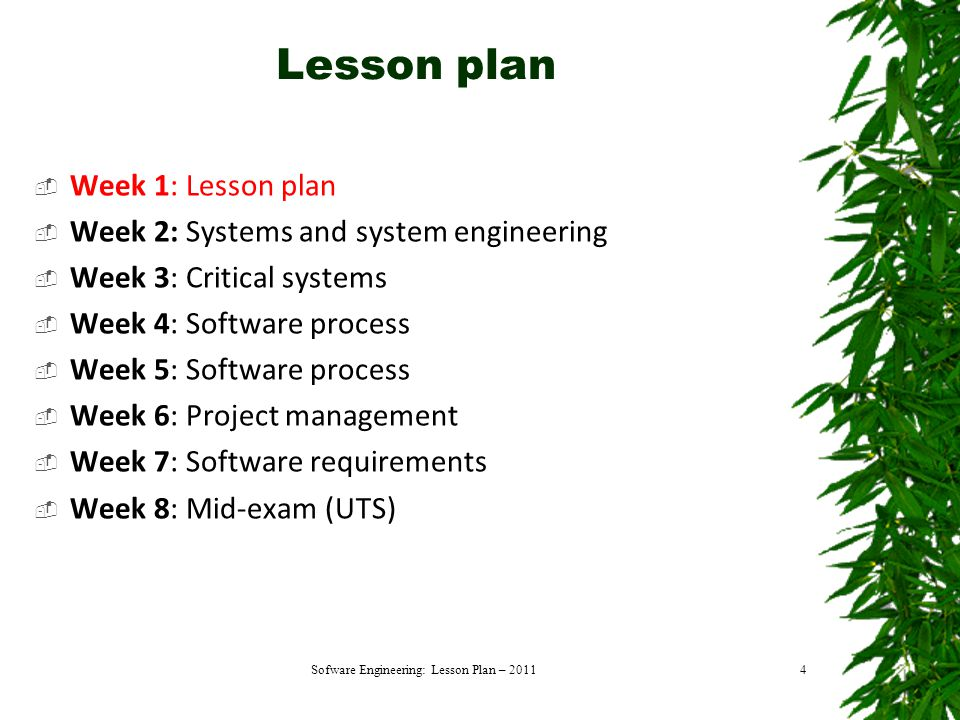 Lesson plan  Week 1: Lesson plan  Week 2: Systems and system engineering  Week 3: Critical systems  Week 4: Software process  Week 5: Software process  Week 6: Project management  Week 7: Software requirements  Week 8: Mid-exam (UTS) Sofware Engineering: Lesson Plan – 20114