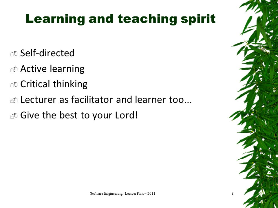Learning and teaching spirit  Self-directed  Active learning  Critical thinking  Lecturer as facilitator and learner too...