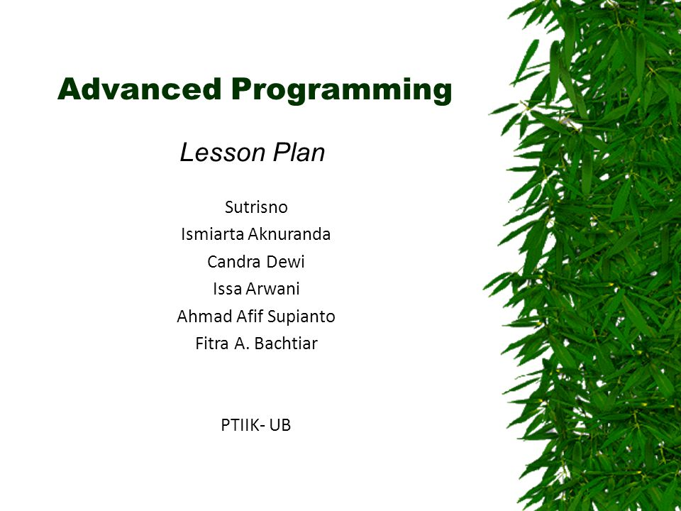 Advanced Programming Lesson Plan Sutrisno Ismiarta Aknuranda Candra Dewi Issa Arwani Ahmad Afif Supianto Fitra A.