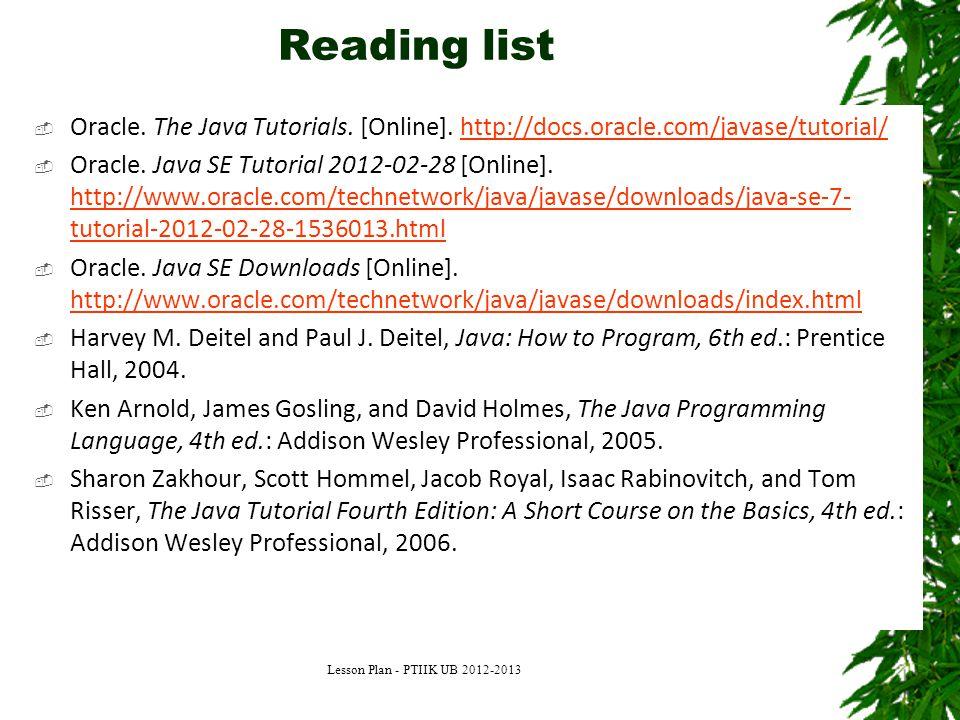 Reading list  Oracle.The Java Tutorials. [Online].