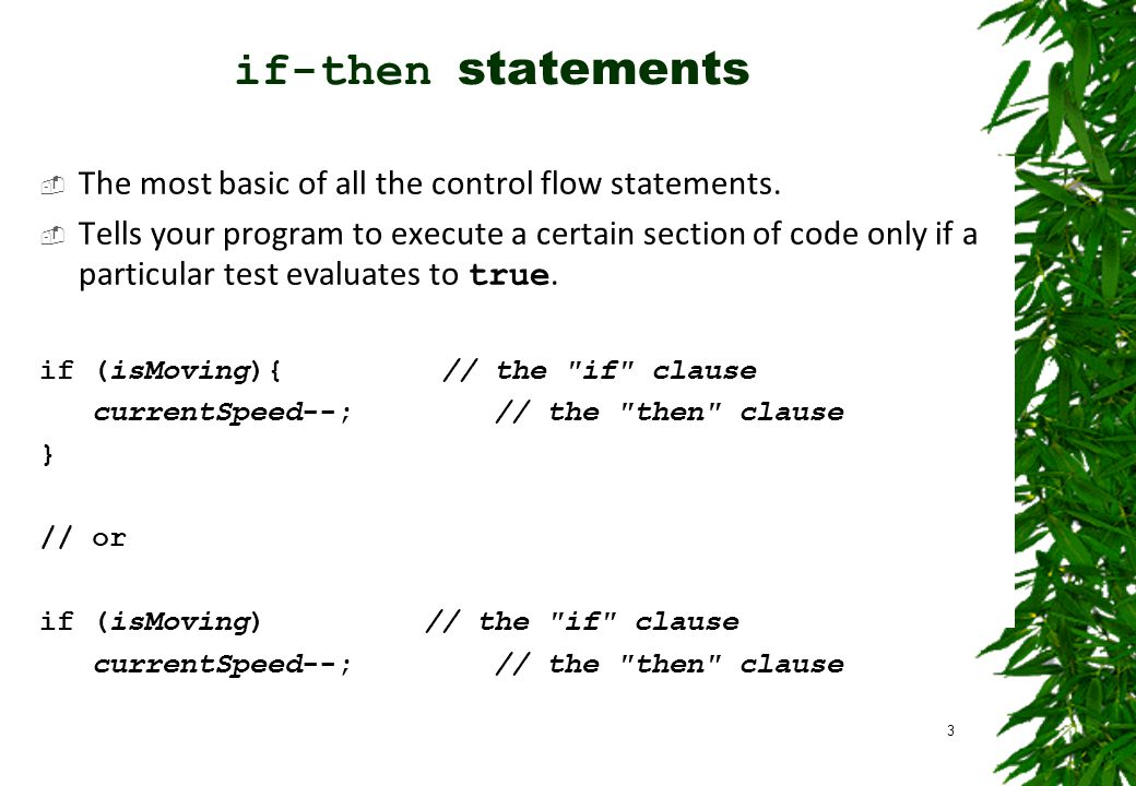 if-then statements  The most basic of all the control flow statements.  Tells your program to execute a certain section of code only if a particular